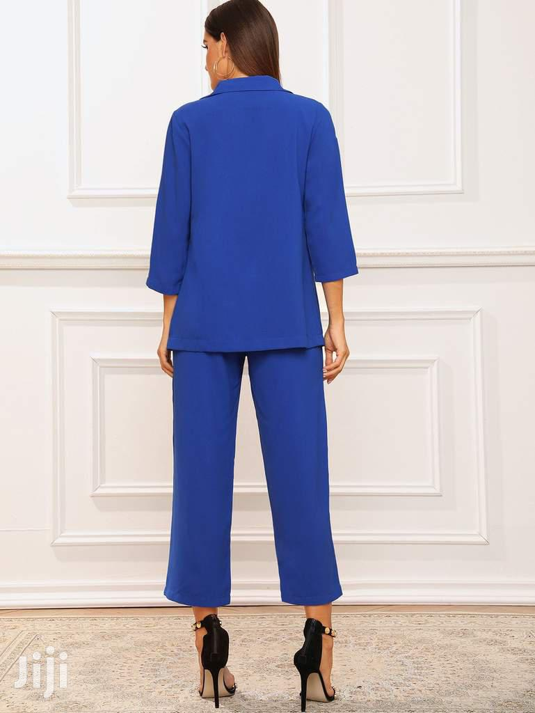 SHEIN Brand Plus Size Women Blue Set Blazer And Trouser | Clothing for sale in Arada, Addis Ababa, Ethiopia