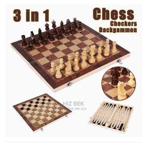 3 ጌሞች የያዘ Chess ,Backgammon, Checkers የእንጨት ታጣፊ፣ 42*42 Cm | Books & Games for sale in Addis Ababa, Bole